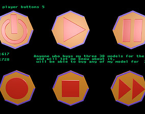 Low poly player buttons 5 3D