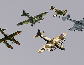 3D asset Pack Of 5 low poly game ready Military Aircraft