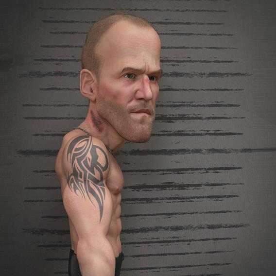 Jason Statham 3D Caricature