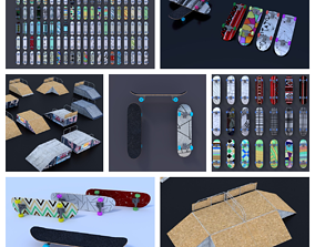 Skateboard Ramps Park Mega pack Game Asset low-poly