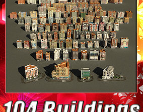 3D asset 104 Buildings Collection