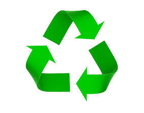 3D asset Lowpoly Green recycle sign model