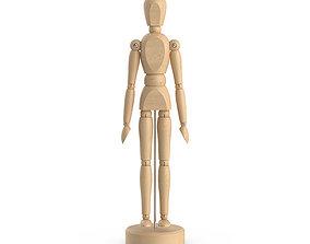 Wooden man figure 3D