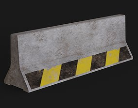 Lowpoly Pbr Concrete Barrier 3D asset game-ready