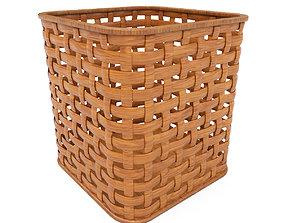 3D asset Wicker wooden basket v2