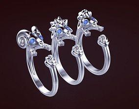 gold rings animals 3D print model Ring