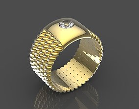 Engagement ring with stone 3D printable model