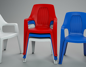 Plastic Chair 3D asset game-ready
