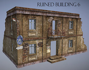 Ruined Building 6 3D asset game-ready