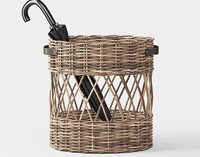 Oval Rattan Umbrella Basket 3D model