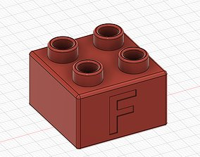 Lego Duplo compatible 2x2 F 3D printable model