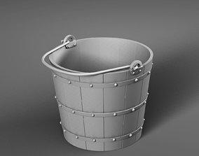 3D asset VR / AR ready Wooden bucket