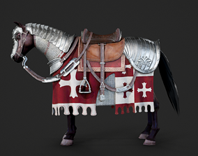 3D model game-ready Carapace warhorse of Medieval cavalry