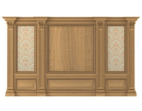 Wall wood boiserie paneling with Wallpaper 3D