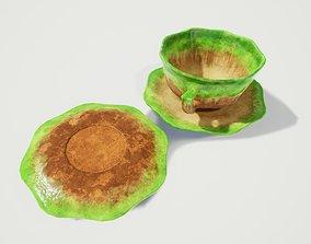 3D model Teacup and Saucer Green Glazed