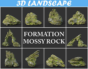3D model Low poly Mossy Rock Formation Pack 191221