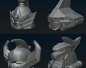 Megazord set of 4 3d helmets