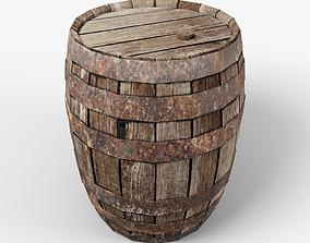 3D asset Old Barrel low-poly