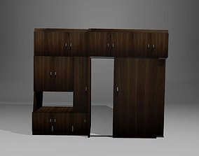 laminate cabinet with sliding doors 3D model