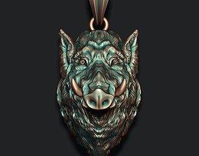 hunt 3D printable model Wild boar pendant