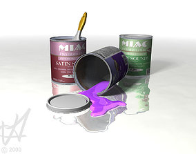 multiple paint cans and spilled paint 3D model