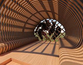 Spade Gazeebo wooden pergola 3D model