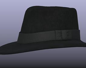 3D model PBR Black Stylish Fedora Hat