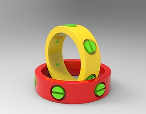 3D printable model Rings with bolt heads