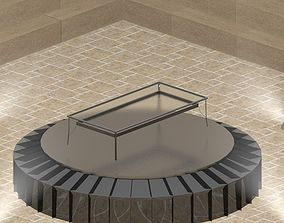 Simple Terrace Table with a Glass plate 3D asset