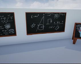 Lowpoly Blackboards 3D asset realtime