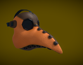 Printable Plague Doctor Mask 3D asset game-ready