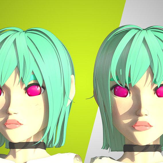 Modelo 3D de personagem feminina estilo anime