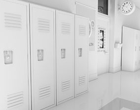 School Hallway White 3D