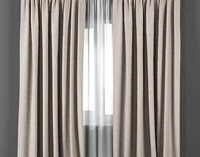 Beige curtains with white tulle 3D model