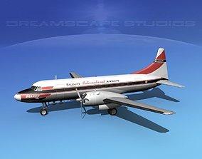 Convair CV-340 Braniff 3D model