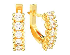 Diamonds english lock earrings 3D print model 3d