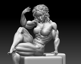 Woman body builder figure poses 03 print 3D model