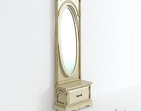 3D Victorian Hallway Mirror Old White