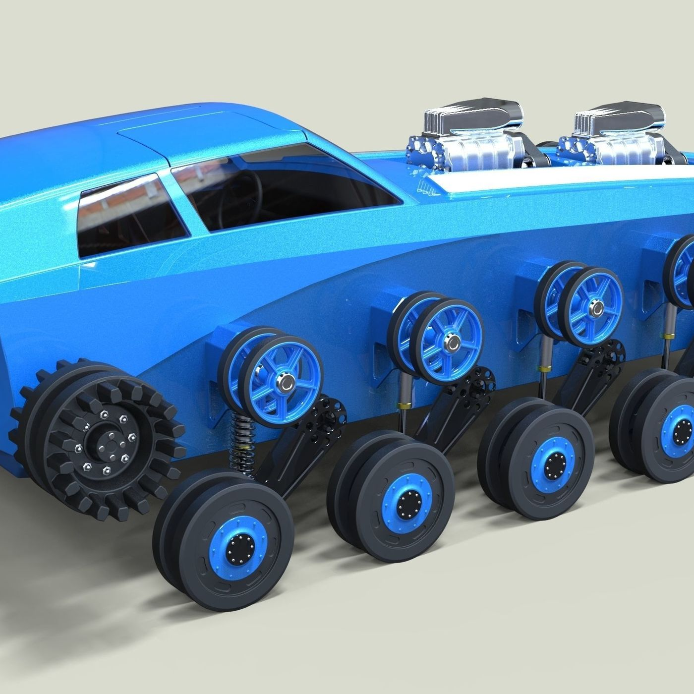 Muscle car on tracks