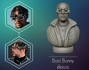 Bad Bunny 3D portrait Model