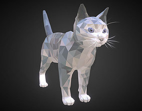 Cat White Low Polygon Art Farm Animal 3D asset