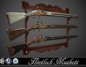 Double-barreled Flintlock Rifle - 3 3D model