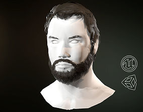 Hair and Beard Cards Man 3D asset game-ready
