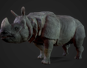 3D asset animated PBR Rhinoceros