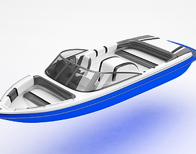 Speed boat 3D model ocean