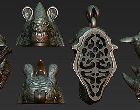 rhinoceros ring pendant 3 files 3D print model