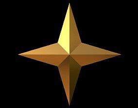 3D model 4 Point Star