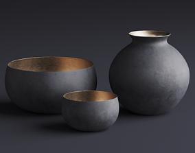 RH Matte Black Brass Vessel - Bowl 3D model