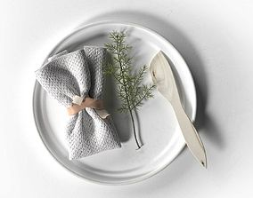 3D Plate with Napkin Rosemary and Wooden Knife