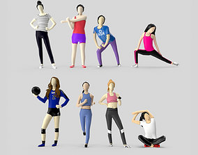 Low Poly Sporty Girls 3D asset